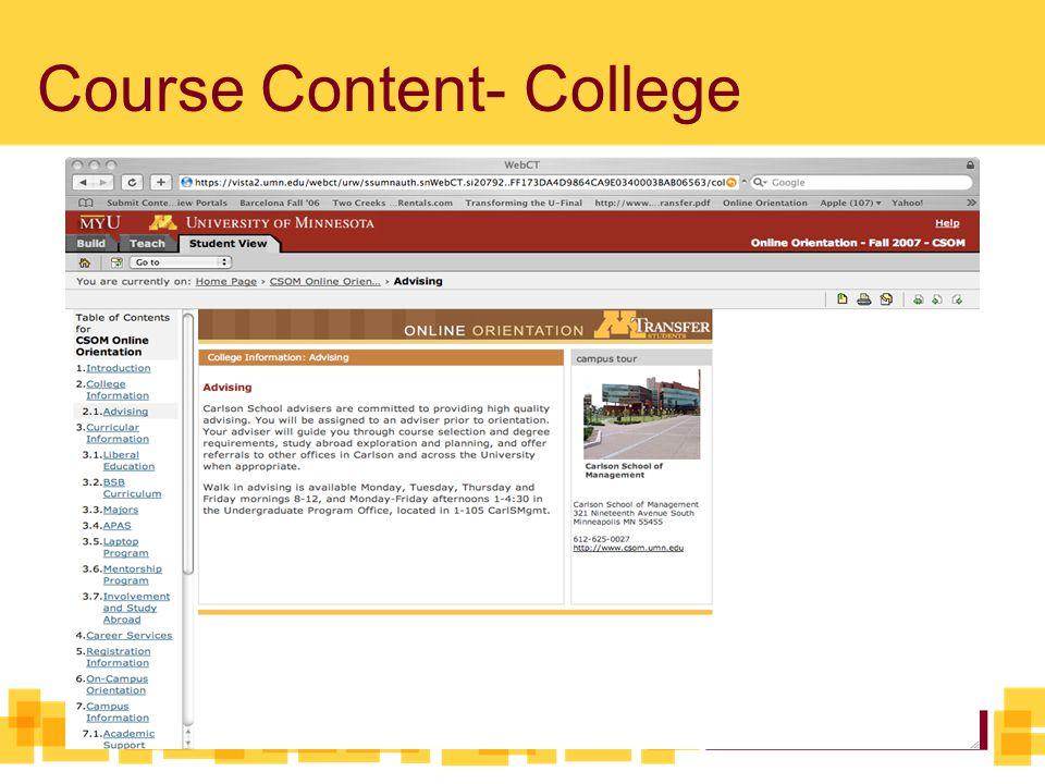 Course Content- College