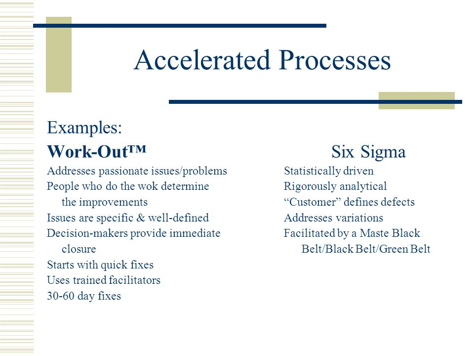 Accelerated Processes Examples: Work-Out™Six Sigma Addresses passionate issues/problemsStatistically driven People who do the wok determineRigorously analytical the improvements Customer defines defects Issues are specific & well-definedAddresses variations Decision-makers provide immediateFacilitated by a Maste Black closure Belt/Black Belt/Green Belt Starts with quick fixes Uses trained facilitators 30-60 day fixes