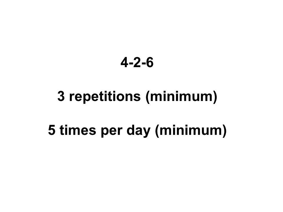 4-2-6 3 repetitions (minimum) 5 times per day (minimum)