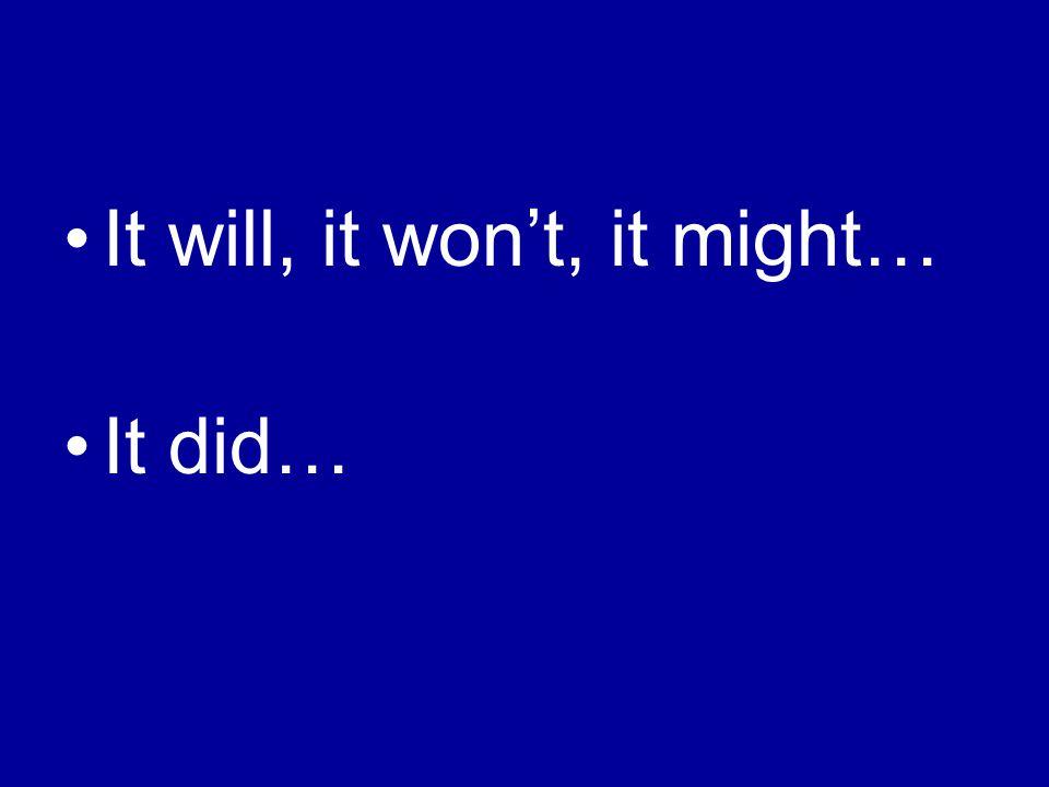 It will, it won't, it might… It did…
