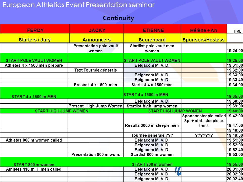 European Athletics Event Presentation seminar FERDY JACKY ETIENNEHélène + An TIME E Starters / JuryAnnouncersScoreboardSponsors/Hostess Presentation pole vault women Startlist pole vault men women 19:24:00 START POLE VAULT WOMEN 19:25:00 Athletes 4 x 1500 men prepare Belgacom M.