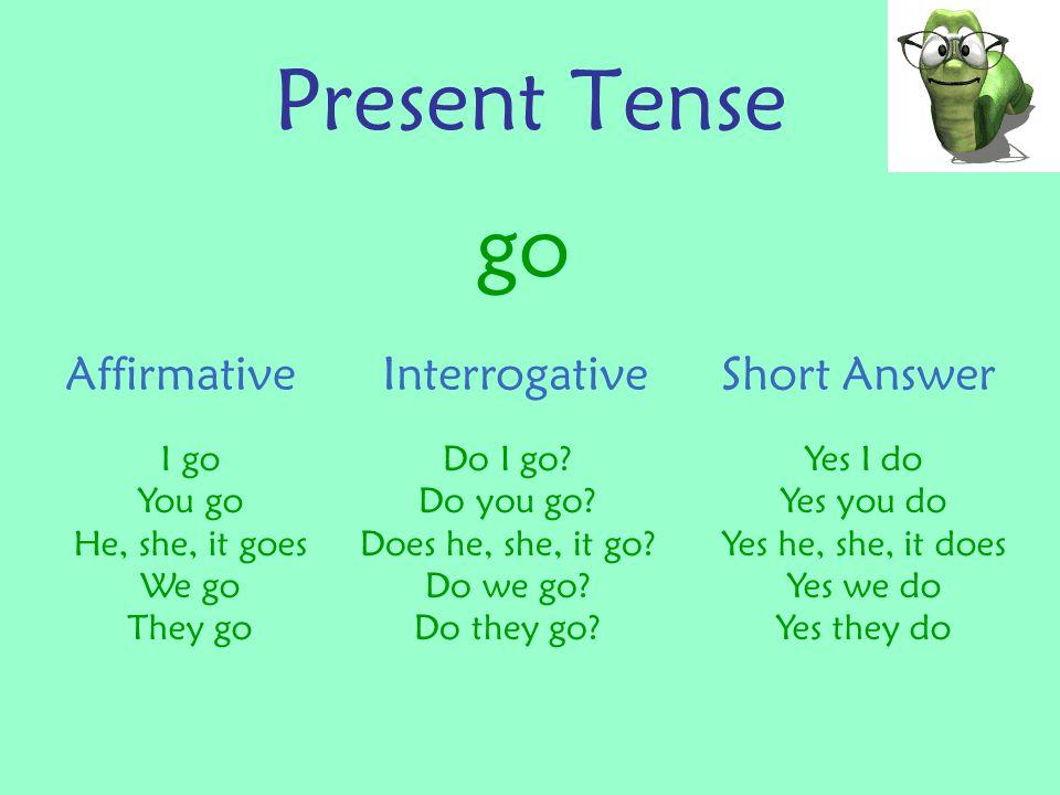 Present Tense go NegativeNegative – interrogative Short Answer I don't go You don't go He, she, it doesn't go We don't go They don't go Don't I go.