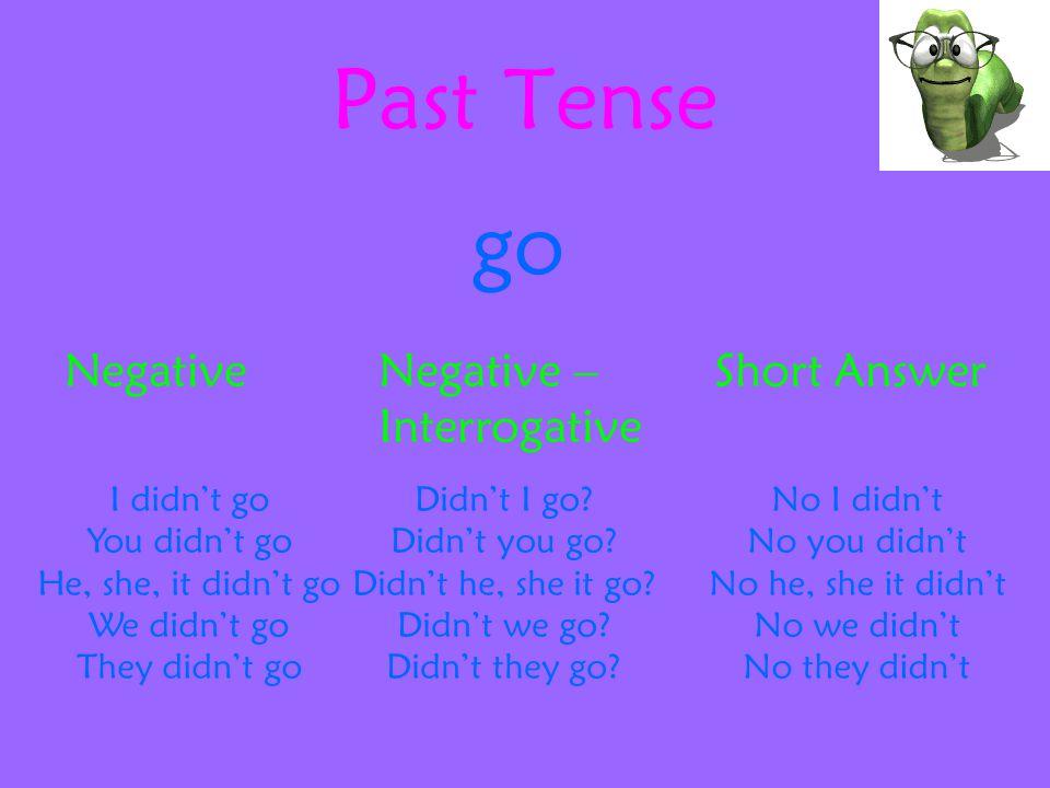 Future Tense go AffirmativeInterrogativeShort Answer I will go You will go He, she, it will go We will go They will go Will I go.