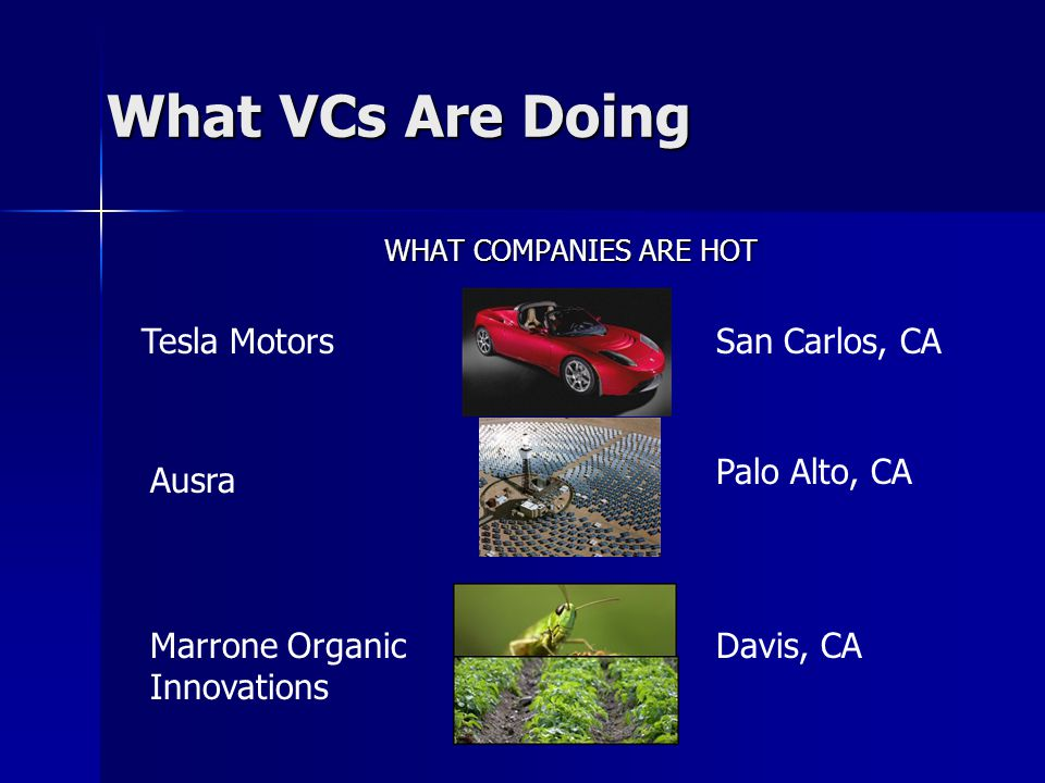 What VCs Are Doing WHAT COMPANIES ARE HOT Tesla Motors Ausra Marrone Organic Innovations San Carlos, CA Palo Alto, CA Davis, CA