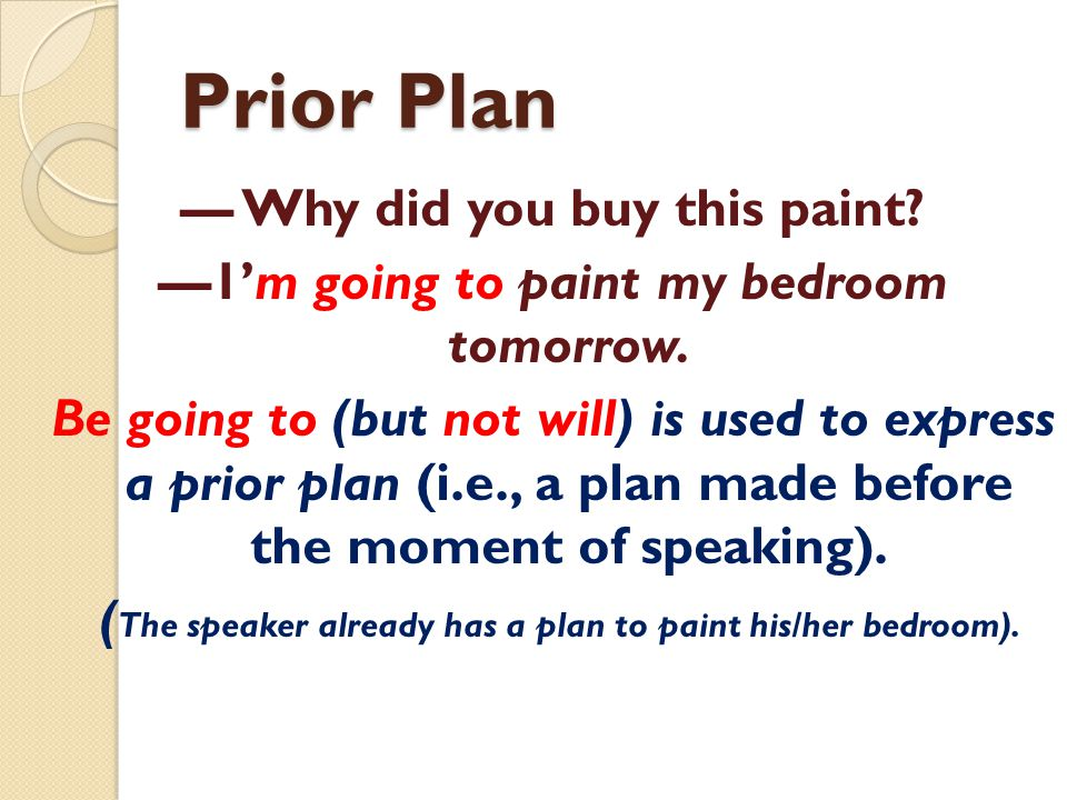 Prior Plan — Why did you buy this paint? —1'm going to paint my bedroom tomorrow. Be going to (but not will) is used to express a prior plan (i.e., a