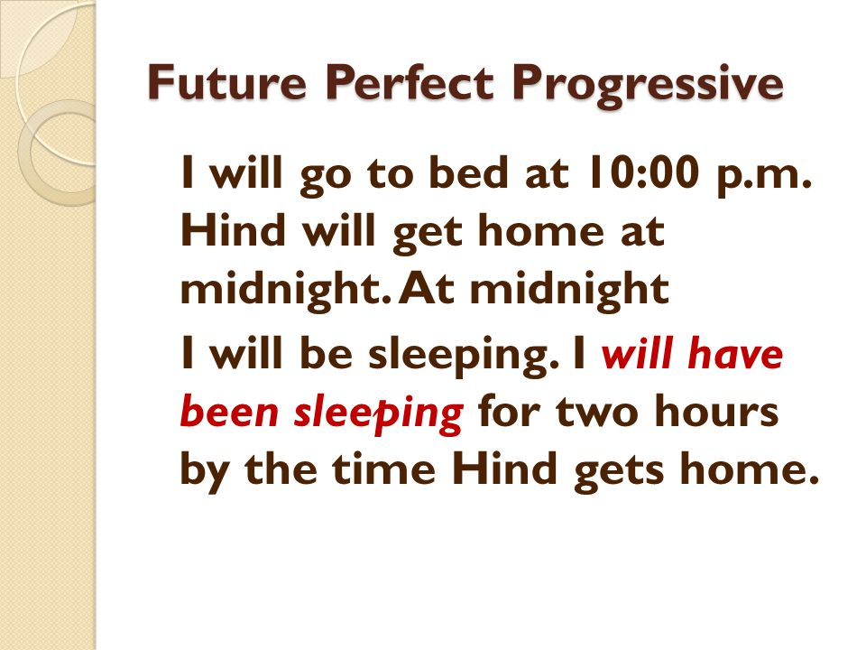 Future Perfect Progressive I will go to bed at 10:00 p.m. Hind will get home at midnight. At midnight I will be sleeping. I will have been sleeping fo