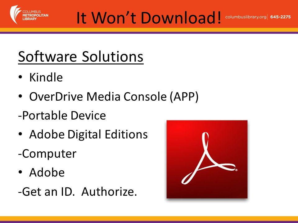 It Won't Download! Format Formula Open formats (no DRM)
