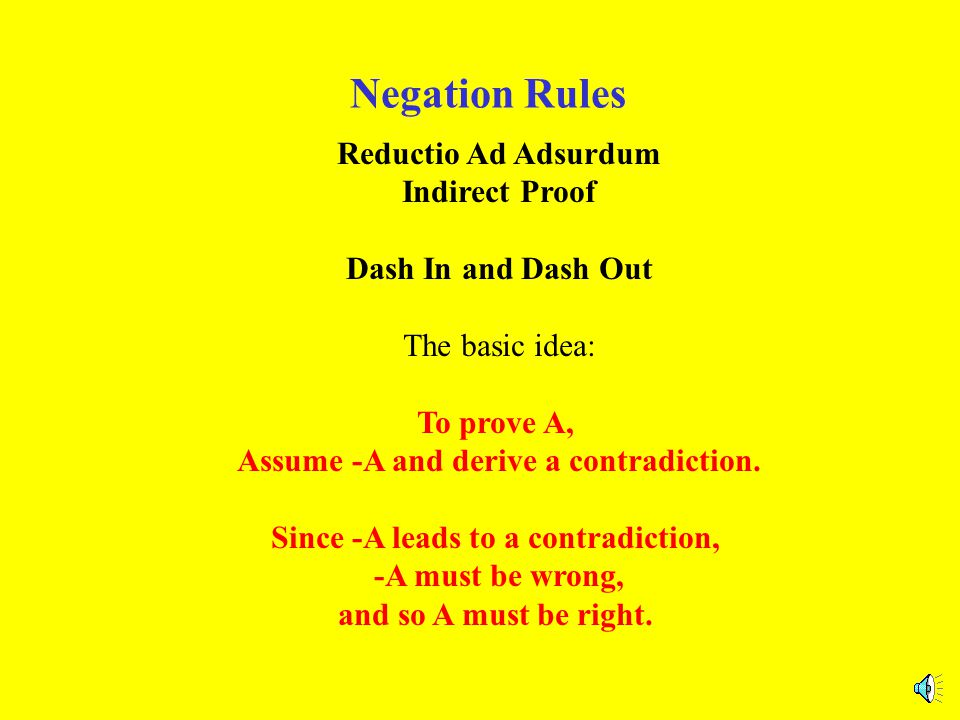 Negation Rules Reductio Ad Adsurdum Indirect Proof Dash In and Dash Out The basic idea: To prove A, Assume -A and derive a contradiction.