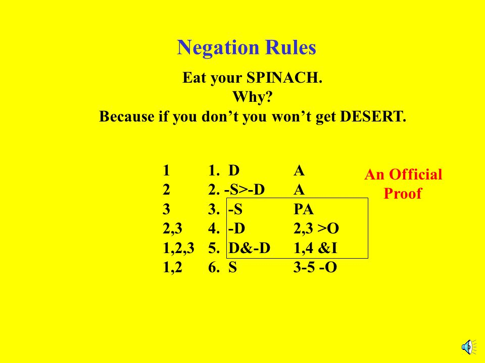 Negation Rules Eat your SPINACH.Why. Because if you don't you won't get DESERT.