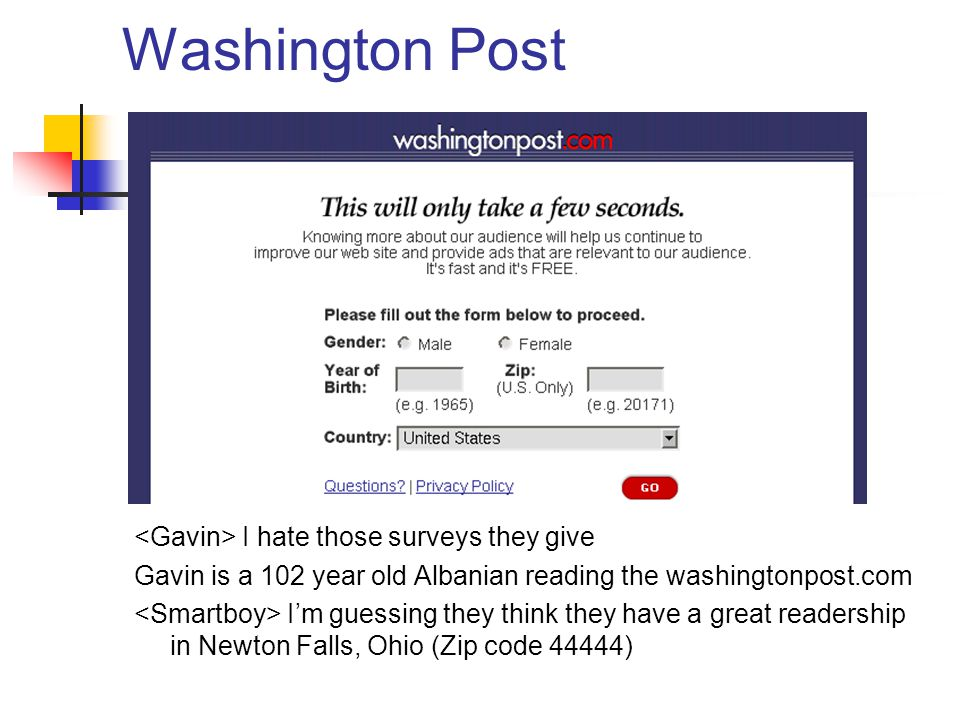 Washington Post I hate those surveys they give Gavin is a 102 year old Albanian reading the washingtonpost.com I'm guessing they think they have a great readership in Newton Falls, Ohio (Zip code 44444)