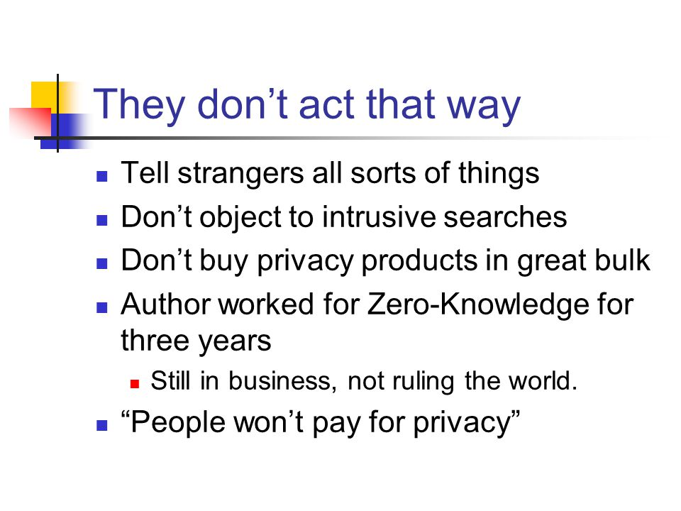 They don't act that way Tell strangers all sorts of things Don't object to intrusive searches Don't buy privacy products in great bulk Author worked for Zero-Knowledge for three years Still in business, not ruling the world.