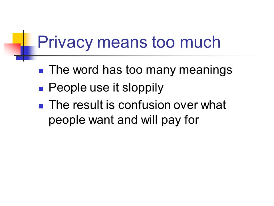 Privacy means too much The word has too many meanings People use it sloppily The result is confusion over what people want and will pay for