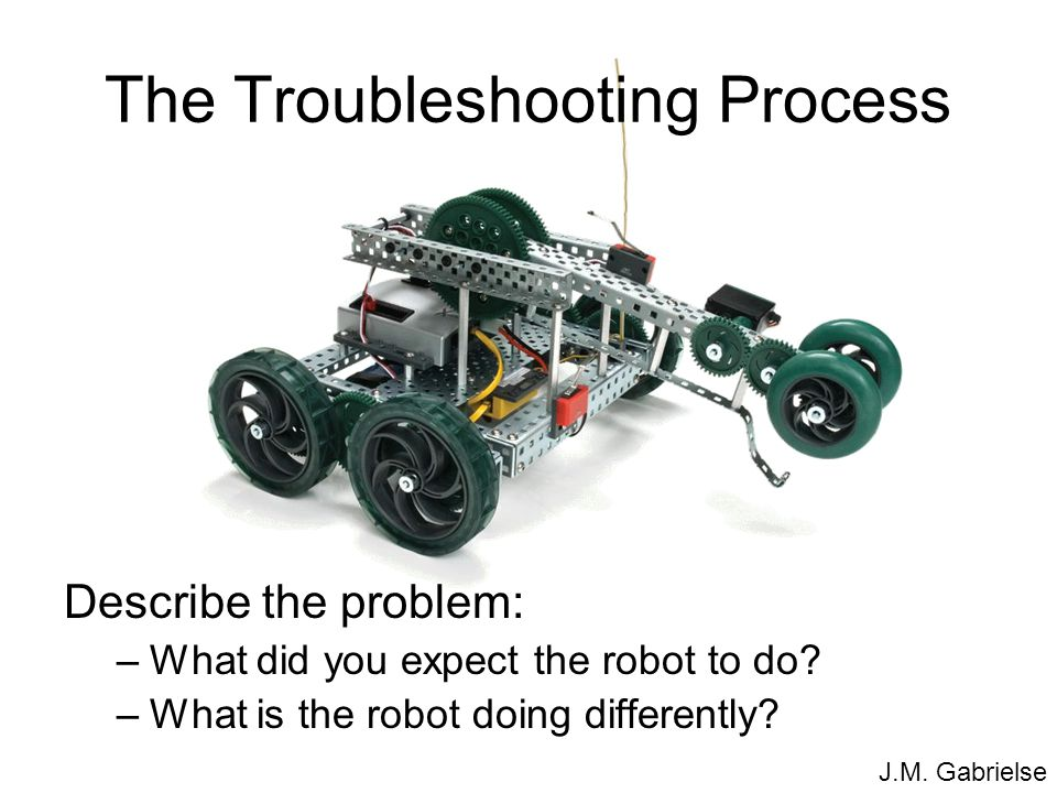 J.M. Gabrielse The Troubleshooting Process Describe the problem: –What did you expect the robot to do? –What is the robot doing differently?