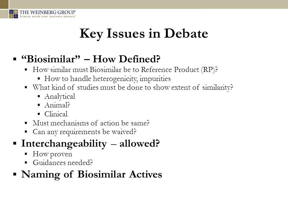 Key Issues in Debate  Biosimilar – How Defined.