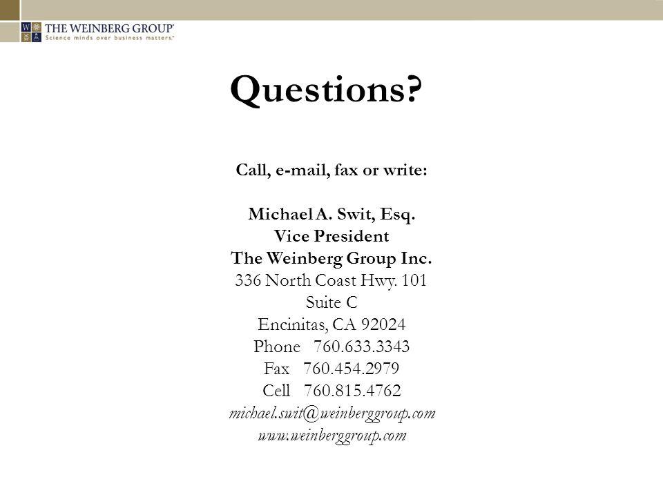 Call, e-mail, fax or write: Michael A. Swit, Esq.
