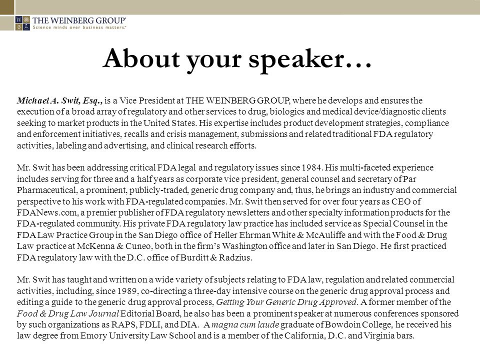 About your speaker… Michael A.