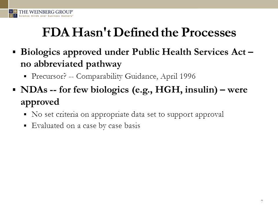  Biologics approved under Public Health Services Act – no abbreviated pathway  Precursor.