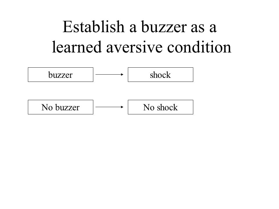 Establish a buzzer as a learned aversive condition buzzer No buzzerNo shock shock