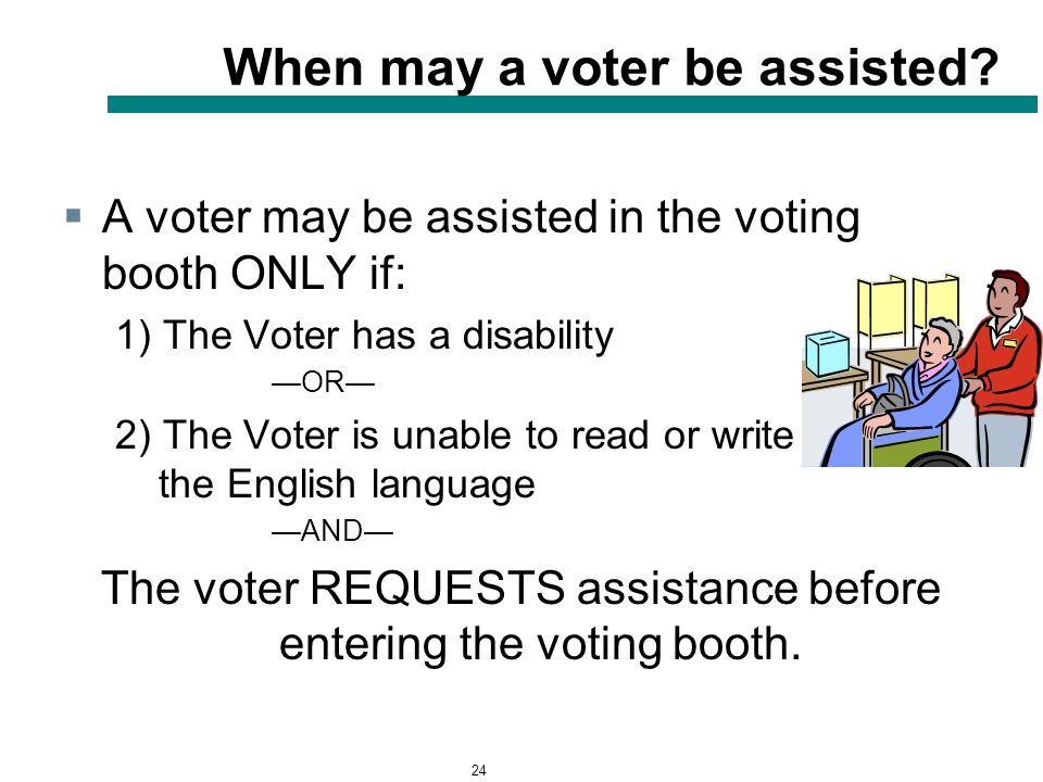 24 When may a voter be assisted.