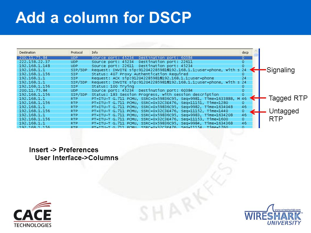 Add a column for DSCP Insert -> Preferences User Interface->Columns Signaling Tagged RTP Untagged RTP