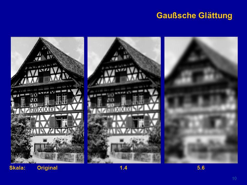 9 Eckenextraktion mit Rohr-Operator (lokale Maxima der Operatorantwort) Original0.71.4Skala: 2.85.611.2