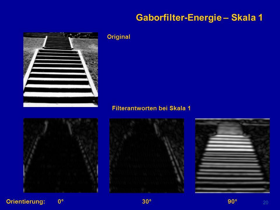 19 Gaborfilter im Ortsraum gerade Filter ungerade Filter Orientierung:0°30°90°