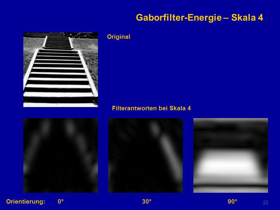 21 Gaborfilter-Energie – Skala 2 Orientierung:0°30°90° Original Filterantworten bei Skala 2
