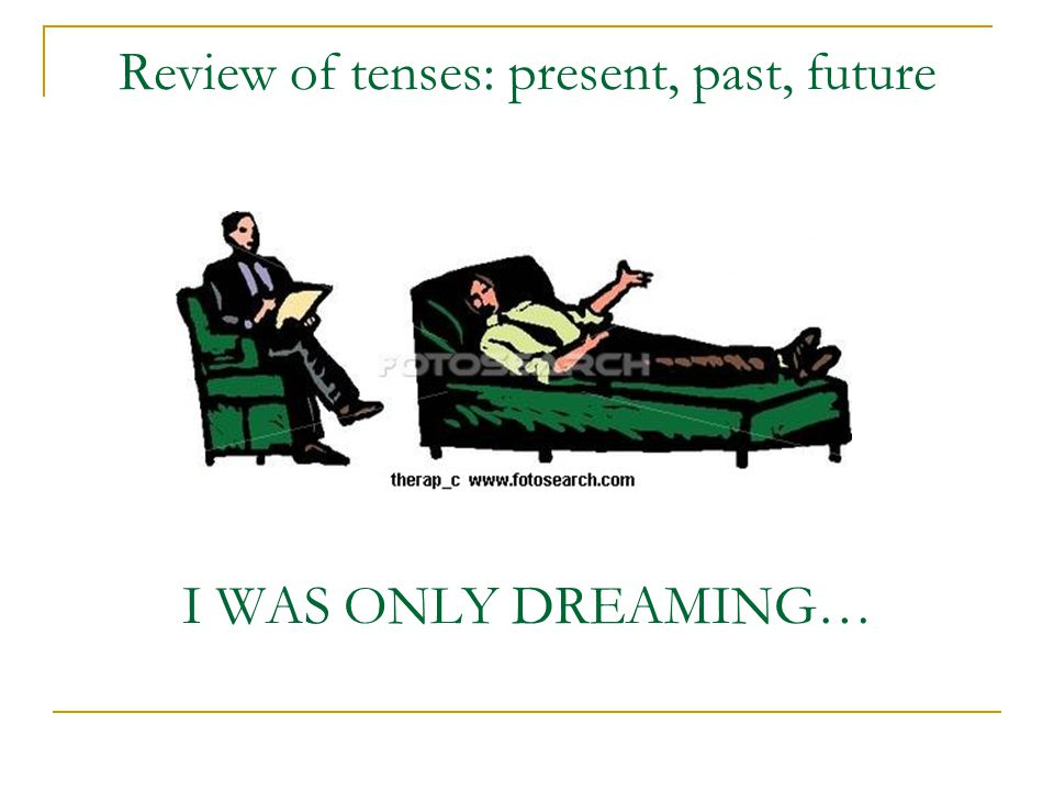 Review of tenses: present, past, future I WAS ONLY DREAMING…