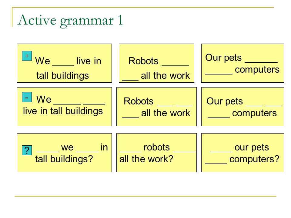 Robots ___ ___ ___ all the work Active grammar 1 We ____ live in Robots _____ tall buildings ___ all the work We _____ ____ live in tall buildings + -