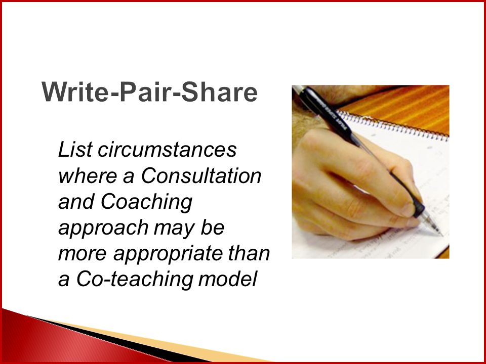 Write-Pair-Share List circumstances where a Consultation and Coaching approach may be more appropriate than a Co-teaching model