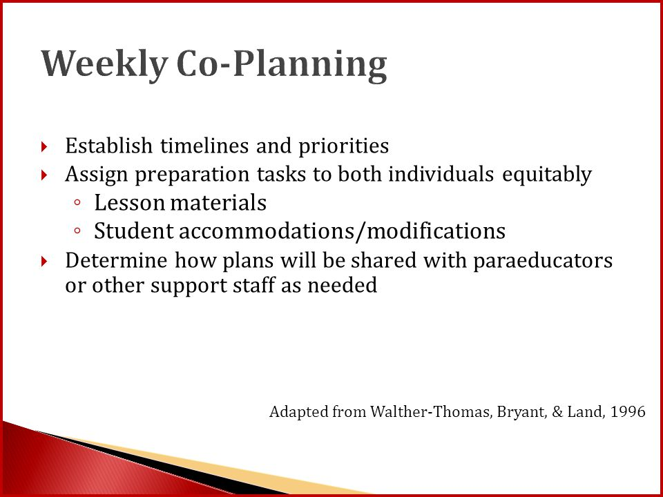 Weekly Co-Planning  Establish timelines and priorities  Assign preparation tasks to both individuals equitably ◦ Lesson materials ◦ Student accommod