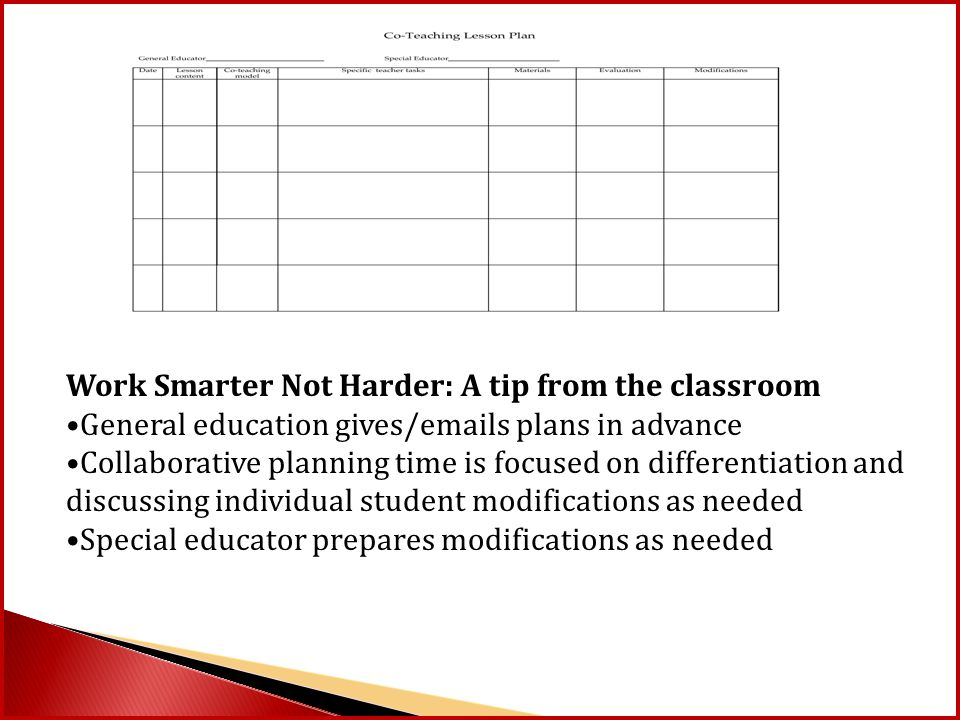 Work Smarter Not Harder: A tip from the classroom General education gives/emails plans in advance Collaborative planning time is focused on differenti