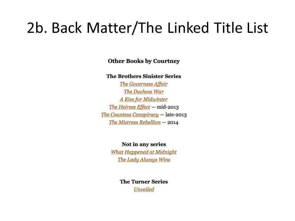 2b. Back Matter/The Linked Title List