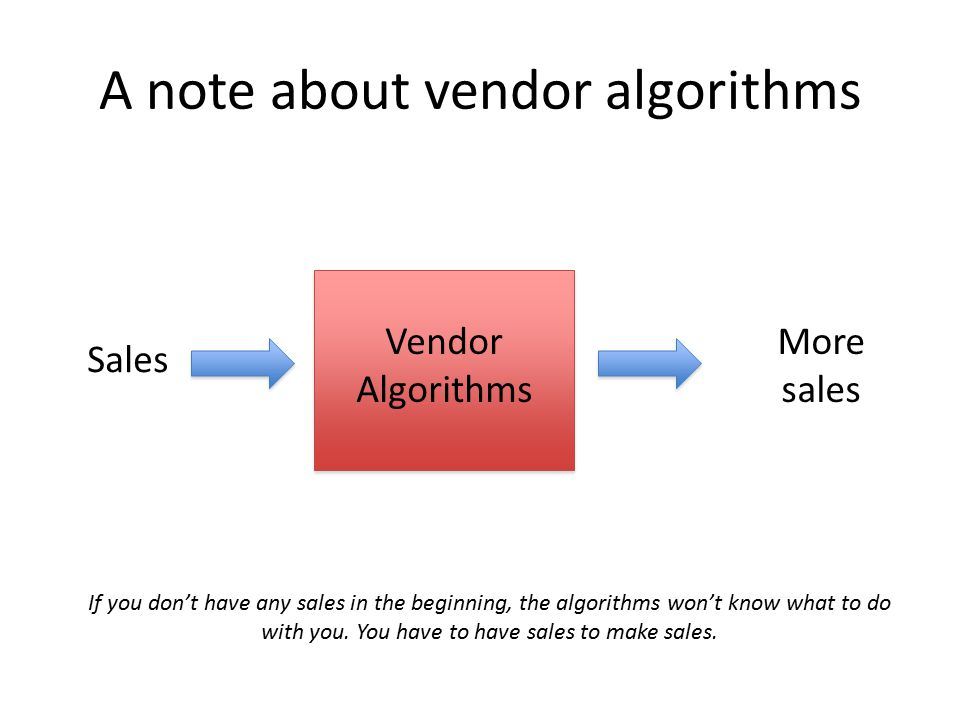 A note about vendor algorithms Vendor Algorithms Sales More sales If you don't have any sales in the beginning, the algorithms won't know what to do with you.