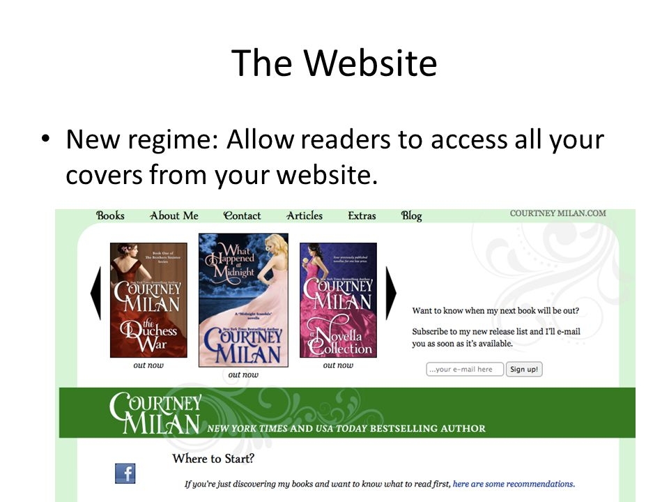 The Website New regime: Allow readers to access all your covers from your website.