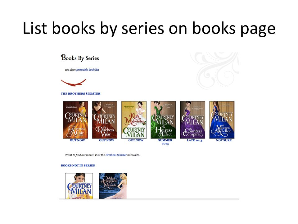 List books by series on books page