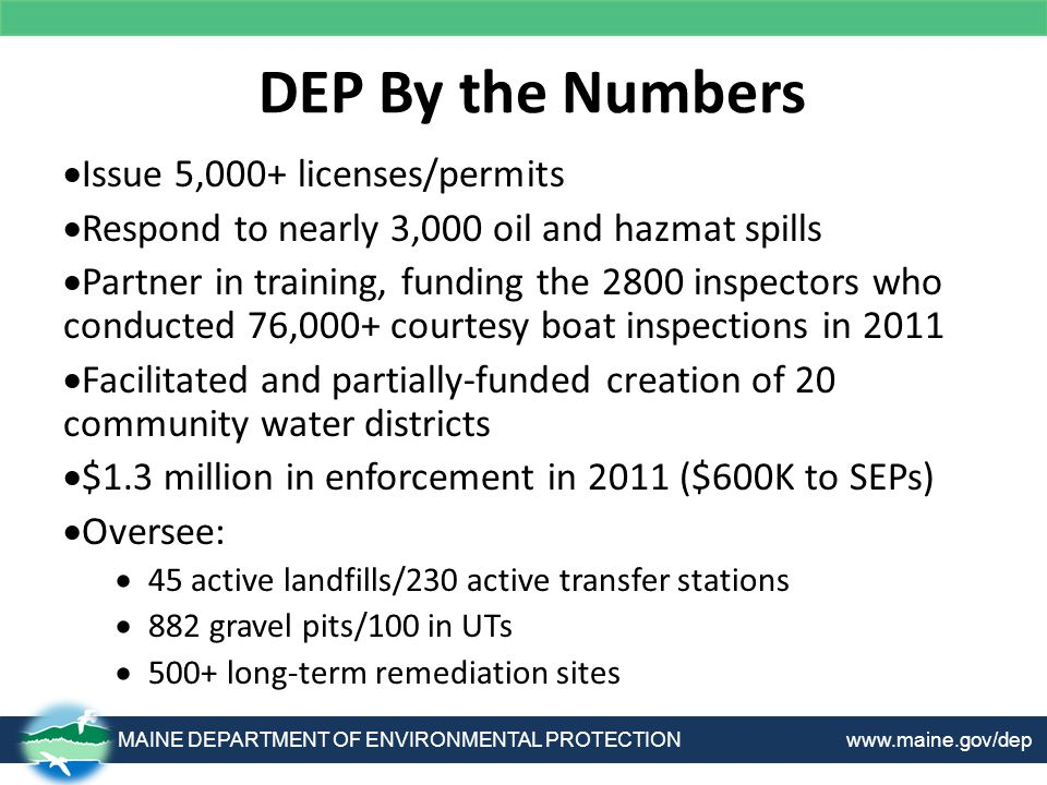 DEP By the Numbers MAINE DEPARTMENT OF ENVIRONMENTAL PROTECTION www.maine.gov/dep  Issue 5,000+ licenses/permits  Respond to nearly 3,000 oil and hazmat spills  Partner in training, funding the 2800 inspectors who conducted 76,000+ courtesy boat inspections in 2011  Facilitated and partially-funded creation of 20 community water districts  $1.3 million in enforcement in 2011 ($600K to SEPs)  Oversee:  45 active landfills/230 active transfer stations  882 gravel pits/100 in UTs  500+ long-term remediation sites
