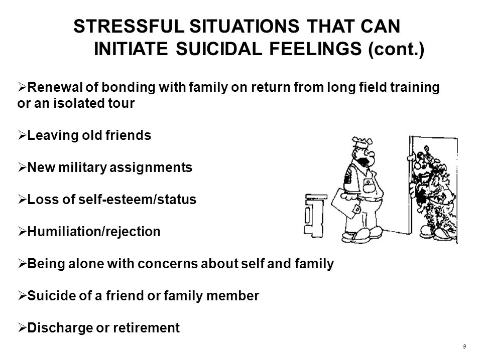 STRESSFUL SITUATIONS THAT CAN INITIATE SUICIDAL FEELINGS (cont.)  Renewal of bonding with family on return from long field training or an isolated tour  Leaving old friends  New military assignments  Loss of self-esteem/status  Humiliation/rejection  Being alone with concerns about self and family  Suicide of a friend or family member  Discharge or retirement 9
