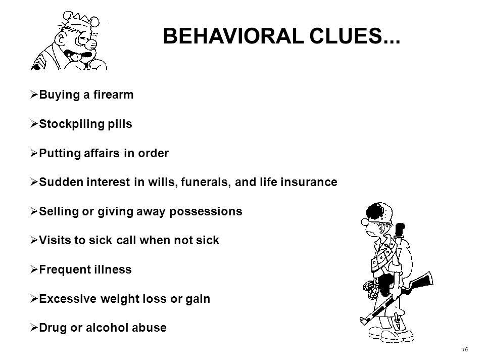 BEHAVIORAL CLUES...