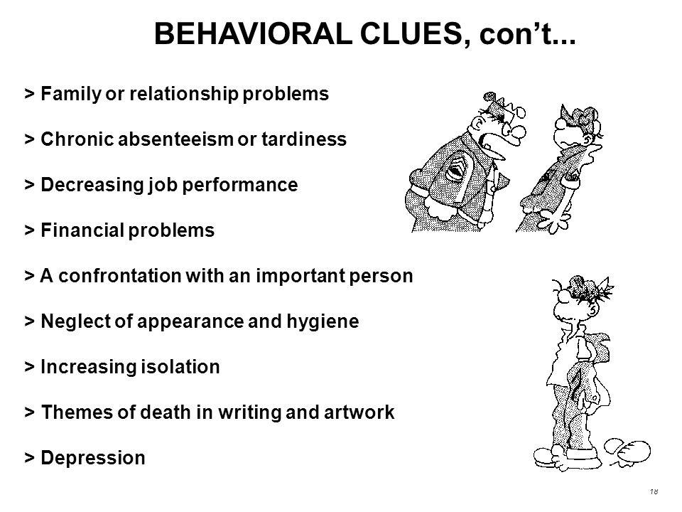 BEHAVIORAL CLUES, con't...