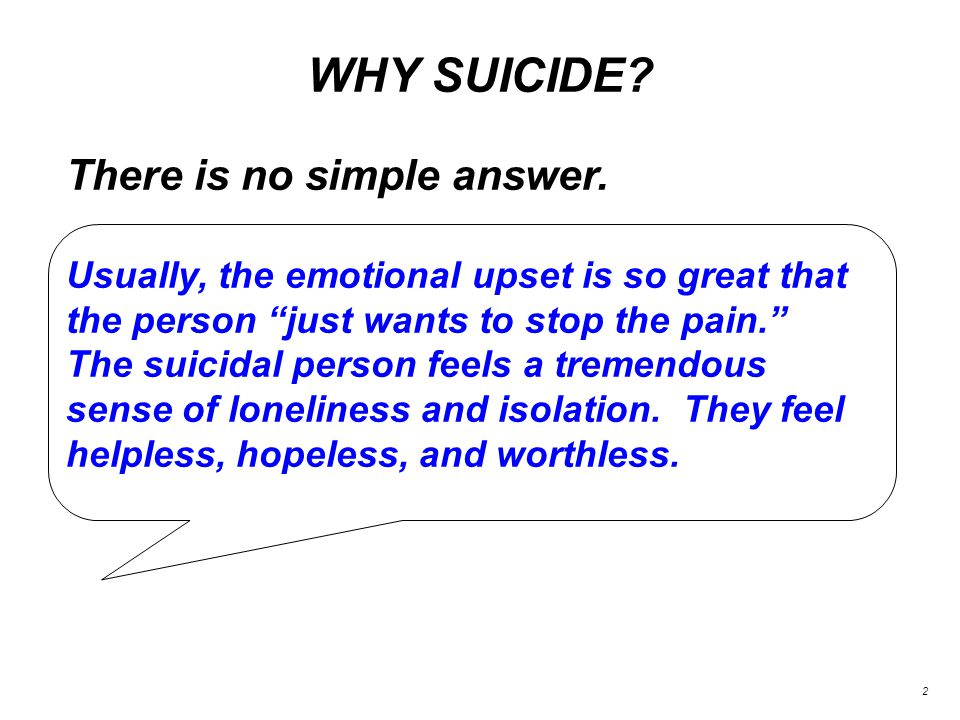 WHY SUICIDE. 2 There is no simple answer.
