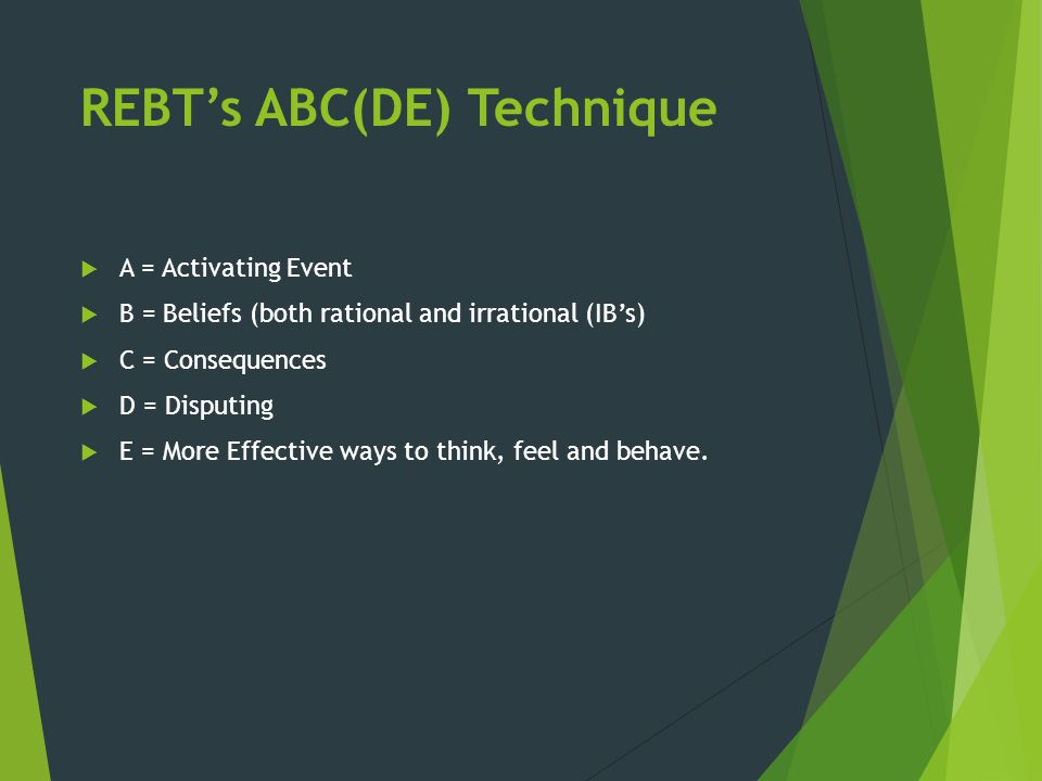 REBT's ABC(DE) Technique  A = Activating Event  B = Beliefs (both rational and irrational (IB's)  C = Consequences  D = Disputing  E = More Effec