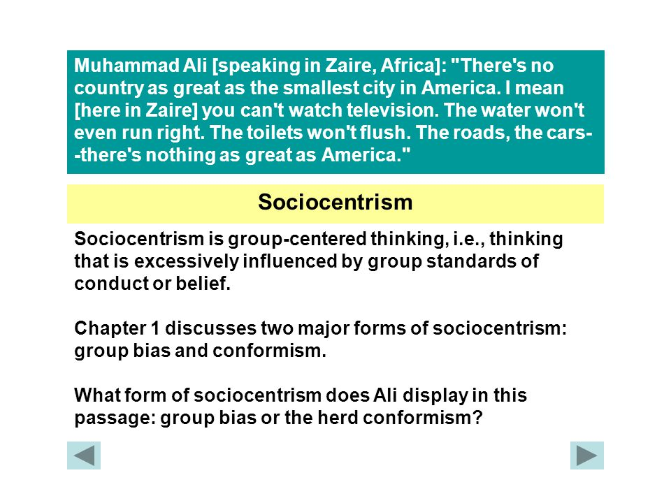 Muhammad Ali [speaking in Zaire, Africa]: There s no country as great as the smallest city in America.