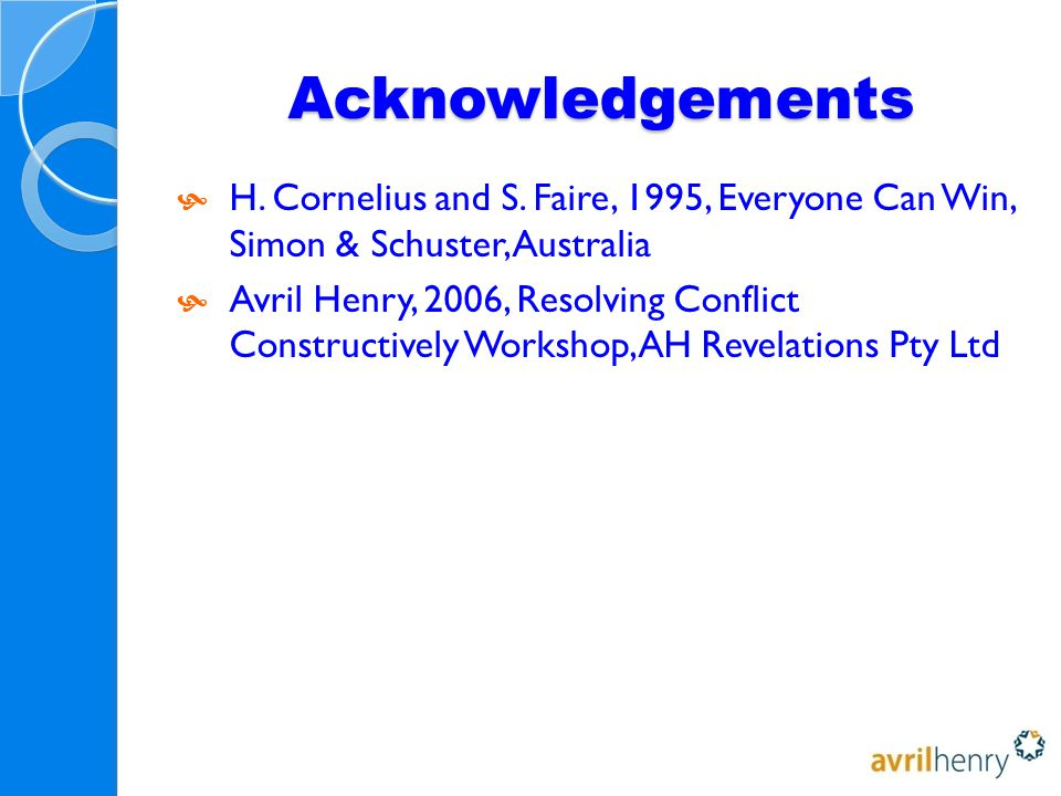 Acknowledgements  H. Cornelius and S.