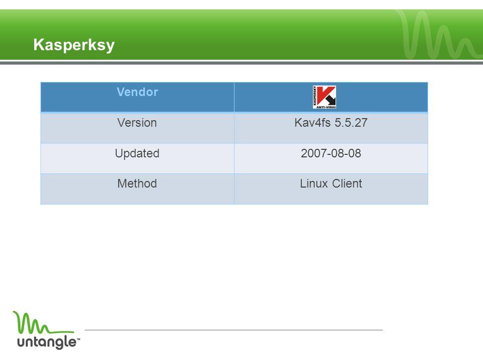 Kasperksy Vendor VersionKav4fs 5.5.27 Updated2007-08-08 MethodLinux Client