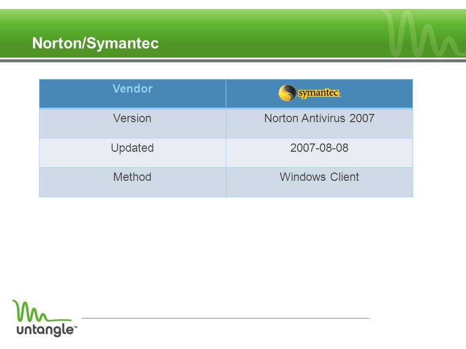 Norton/Symantec Vendor VersionNorton Antivirus 2007 Updated2007-08-08 MethodWindows Client