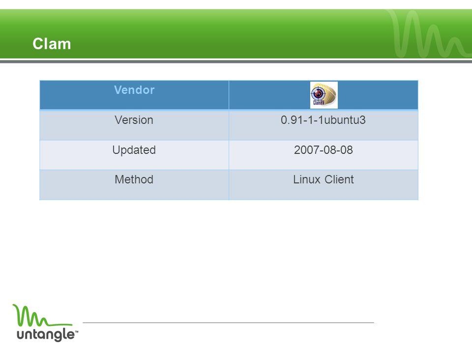 Clam Vendor Version0.91-1-1ubuntu3 Updated2007-08-08 MethodLinux Client