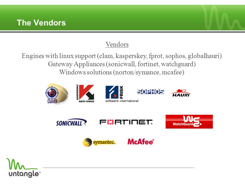 The Vendors Engines with linux support (clam, kasperskey, fprot, sophos, globalhauri) Gateway Appliances (sonicwall, fortinet, watchguard) Windows solutions (norton/symance, mcafee) Vendors
