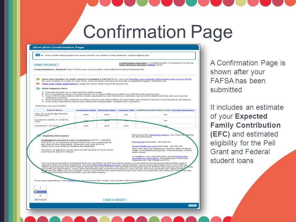 Confirmation Page A Confirmation Page is shown after your FAFSA has been submitted It includes an estimate of your Expected Family Contribution (EFC) and estimated eligibility for the Pell Grant and Federal student loans