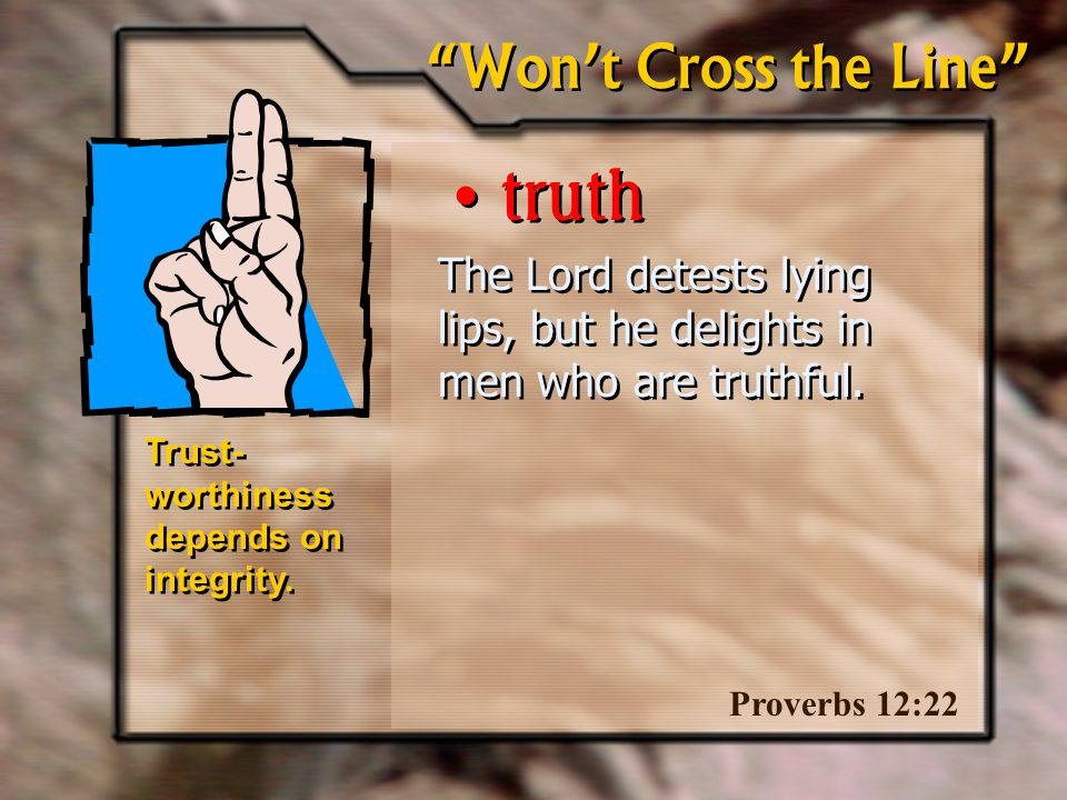 The Lord detests lying lips, but he delights in men who are truthful.
